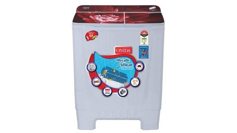 Onida 8 kg 5 Star Cuff and Collar Wash, Designer Glass Lid Semi Automatic washing machine: Selling at Rs 10,990 (39% discount)