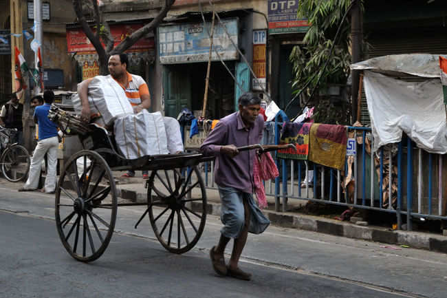 Pulled rickshaws in Kolkata