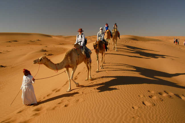 Camel ride at Wahiba Sands