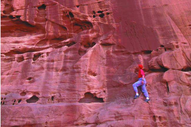 Mountain climbing at Wadi Rum