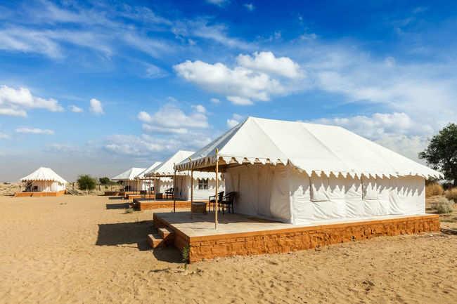 Go camping in the desert