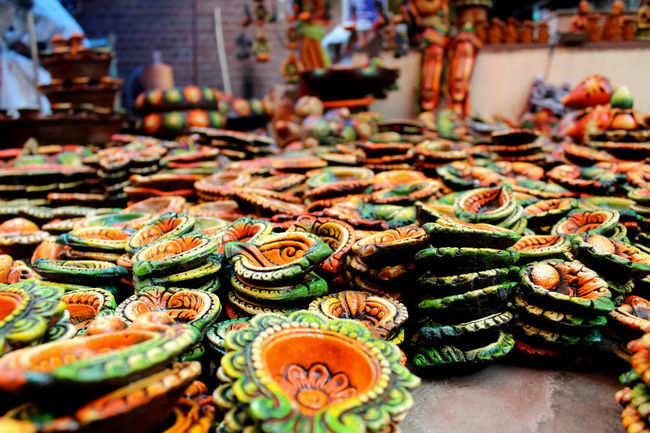 Colourful diyas and more