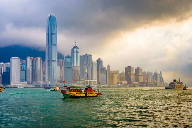 harbour cruise at Victoria Harbour Hong Kong