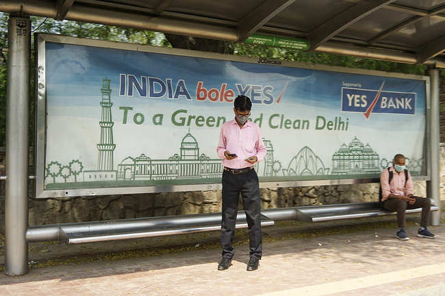 A bus stop in Delhi goes vacant