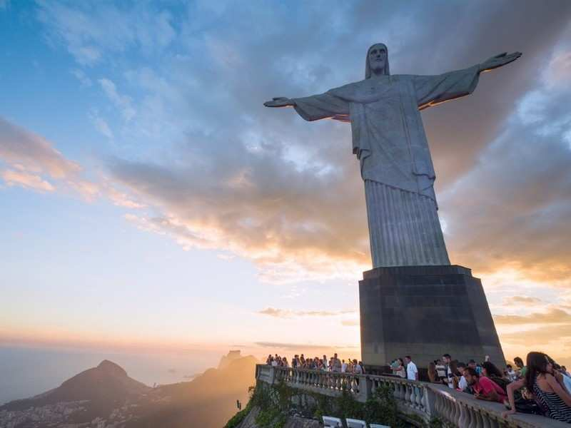 Statue of Christ the Redeemer in Brazil lit up with the flags of countries hit by COVID 19, Brazil
